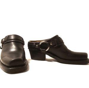 Frye womens Belted Harness Mule black